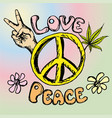 hand drawn hippie background vector image