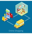 Isometric Online Shopping Woman Buying Clothes vector image