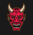 japanese samurai red mask with horns vector image vector image