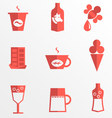 Liquid for drinking and dessert flat icons vector image