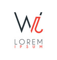logo between letter w and letter j or wj vector image vector image
