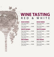 menu for wine tasting patterned glass and vector image vector image