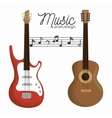 music letter electric guitar and wooden guitar vector image
