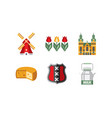 netherlands travel icons set holland national vector image