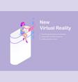 new virtual reality cartoon advertising banner vector image vector image