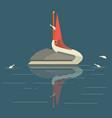 pelican catches fish vector image vector image