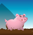pig wallowing mud vector image
