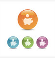 piggy bank icon on colored bubbles vector image vector image