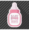 Pink Baby Bottle Card vector image vector image