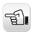 Pointing hand button vector image