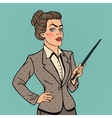 Pop Art Business Woman with Pointer Stick vector image vector image