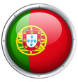 portugal flag on round badge vector image vector image