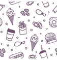 seamless pattern with delicious fast food meals vector image vector image