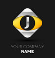 silver letter j logo in the silver-yellow square vector image vector image