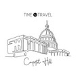 single continuous line drawing capitol hill vector image
