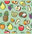 sketch tropical fruits seamless pattern vector image