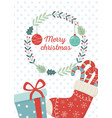 sock gift balls celebration happy christmas vector image