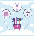 toothbrushes towel shampoo and washbasin bathroom vector image vector image