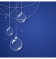 Transparent glass balls on blue background vector image vector image