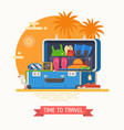 travel suitcase fully stuffed vector image vector image