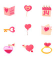 valentine day and wedding icons set cartoon style vector image vector image