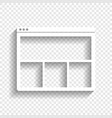web window sign white icon with soft vector image vector image