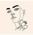 woman line drawing face with bird and flower vector image vector image
