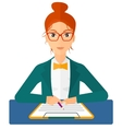 Woman signing contract vector image vector image