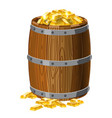 wooden barrel with treasures gold bars with vector image vector image