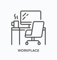 workplace line icon table computer monitor vector image vector image