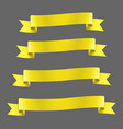 yellow realistic ribbon banners set vector image vector image
