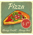 Grunge Card with Pizza vector image