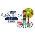 smiling young girl bike and tree flowers vector image