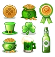 Set Of St Patrick Day green Icons vector image