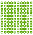 100 police icons hexagon green vector image vector image