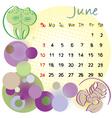 2012 calendar june vector image vector image