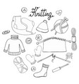 a set of hand-drawn objects for knitting vector image vector image