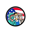 american front line workers as heroes circle vector image vector image