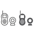 Baby monitor line and glyph icon child