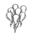 balloons bunch with curly ribbon retro vector image vector image