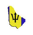barbados map with flag vector image vector image
