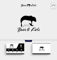bear mom and kids parents logo template and vector image