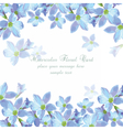 Beautiful Watercolor Blue flowers card background vector image vector image