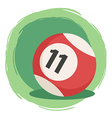 Billiard Ball Number 11 Striped Red vector image vector image