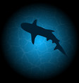 blue water shark silhouette vector image vector image