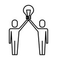 businessmen holding bulb idea solution innovation vector image vector image