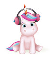 cartoon cute unicorn headphones listen music vector image vector image