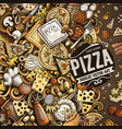 cartoon doodles pizza frame vector image vector image