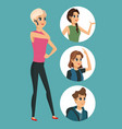cartoon girl talk cellphone with round icons vector image