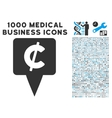 Cent Map Pointer Icon with 1000 Medical Business vector image vector image